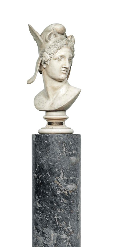 A CARVED MARBLE BUST OF PERSEU