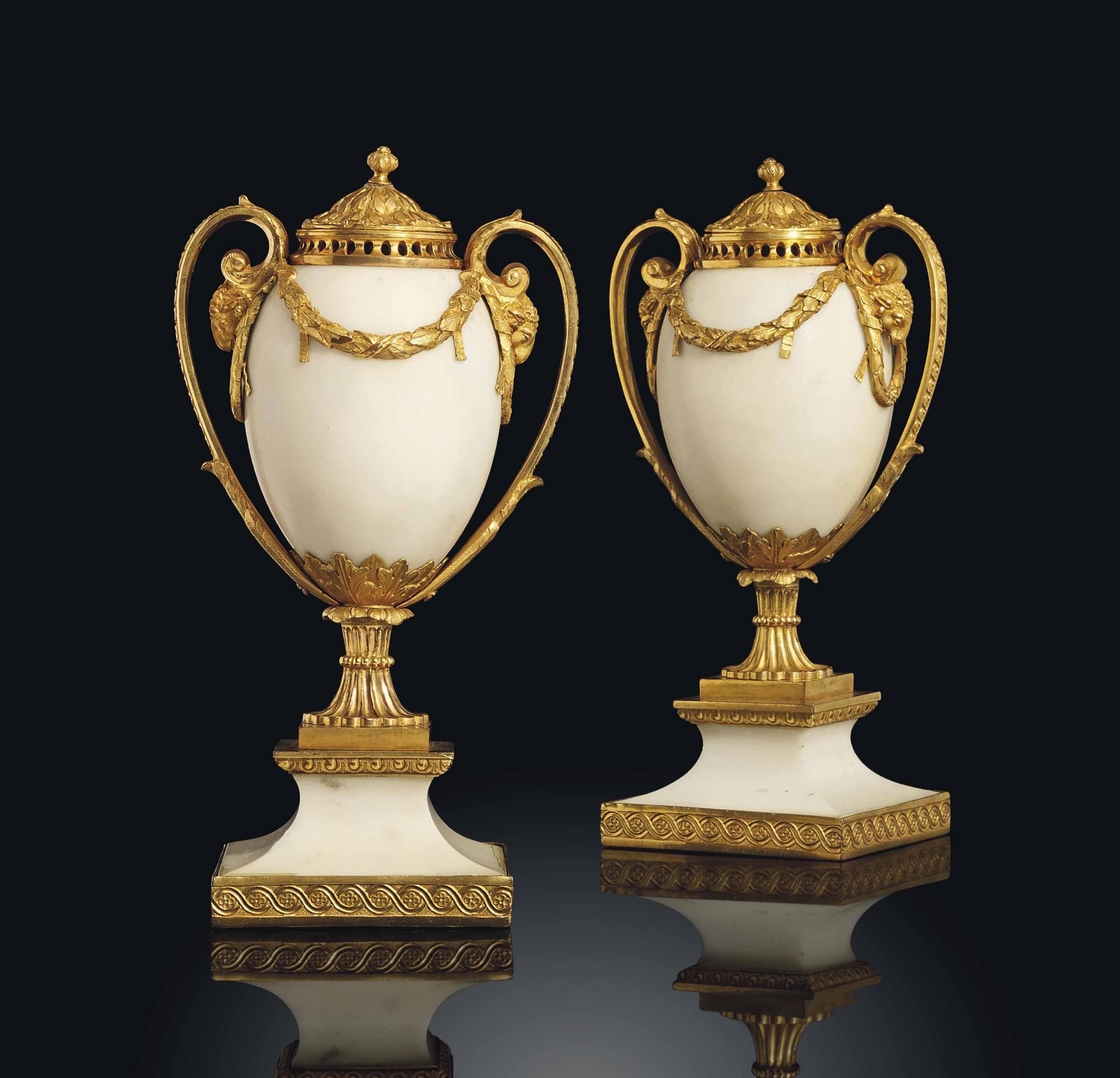 A PAIR OF GEORGE III ORMOLU AND WHITE MARBLE PERFUME-BURNERS