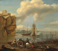 A coastal landscape with a horseman, a wagoner, stevedores, and drovers with their herd, three-masters beyond