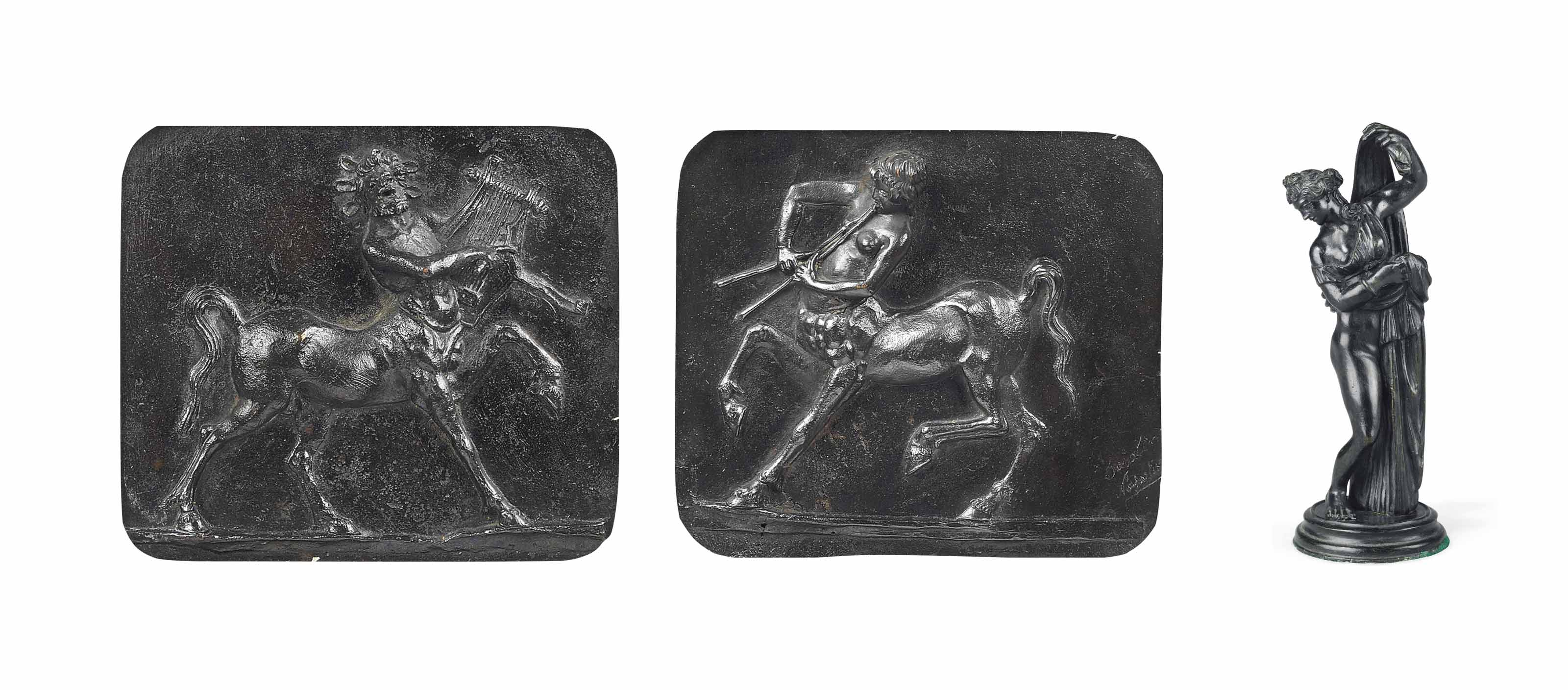 A PAIR OF ITALIAN PATINATED BRONZE RELIEF PLAQUES OF CENTAURS