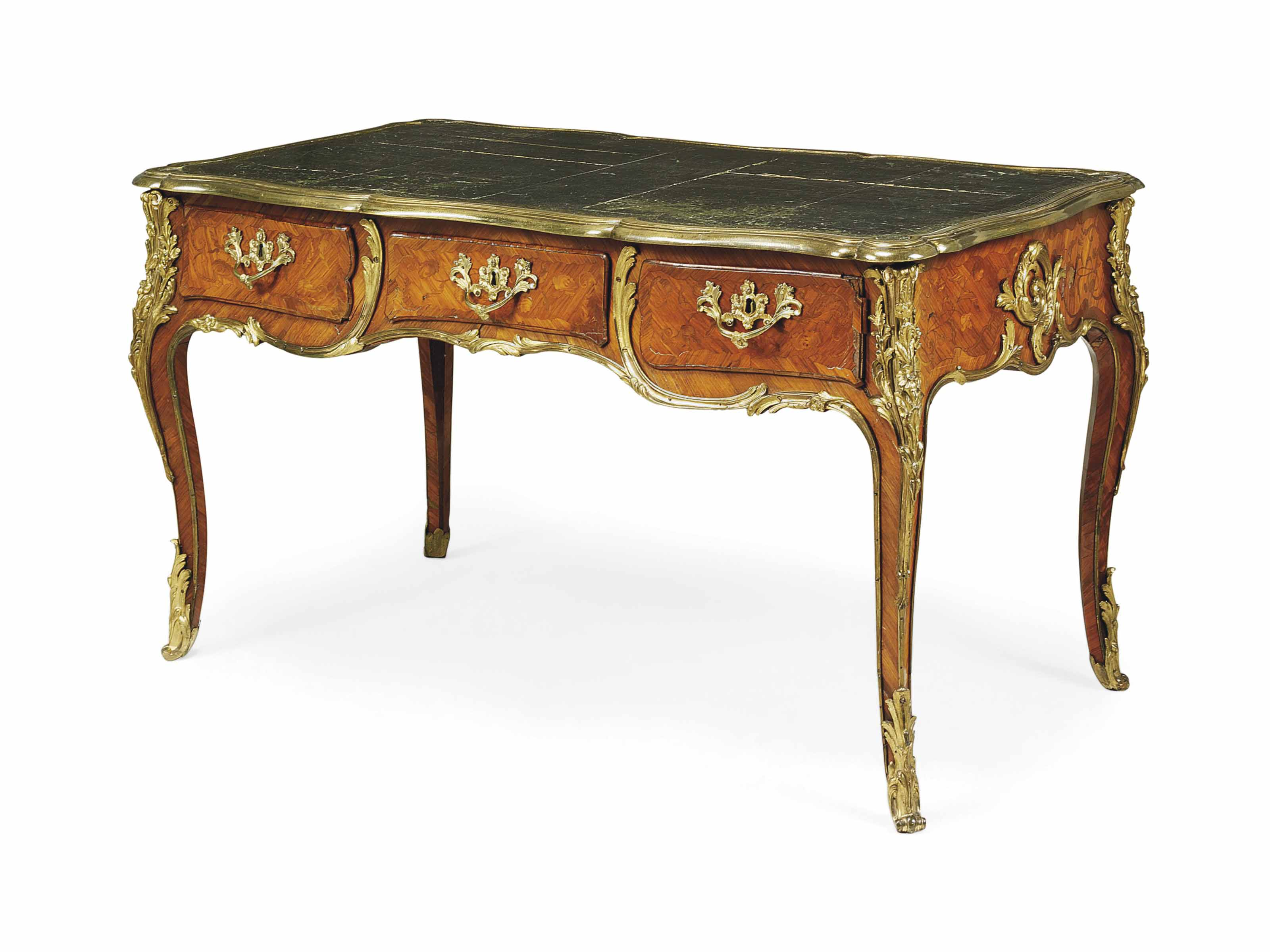 A LOUIS XV ORMOLU-MOUNTED TULIPWOOD AND MARQUETRY BUREAU PLAT