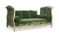 A LOUIS XV GREY-PAINTED LIT EN OTTOMANE