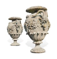 A PAIR OF LARGE VICTORIAN ARTIFICIAL STONE ORNAMENTAL URNS