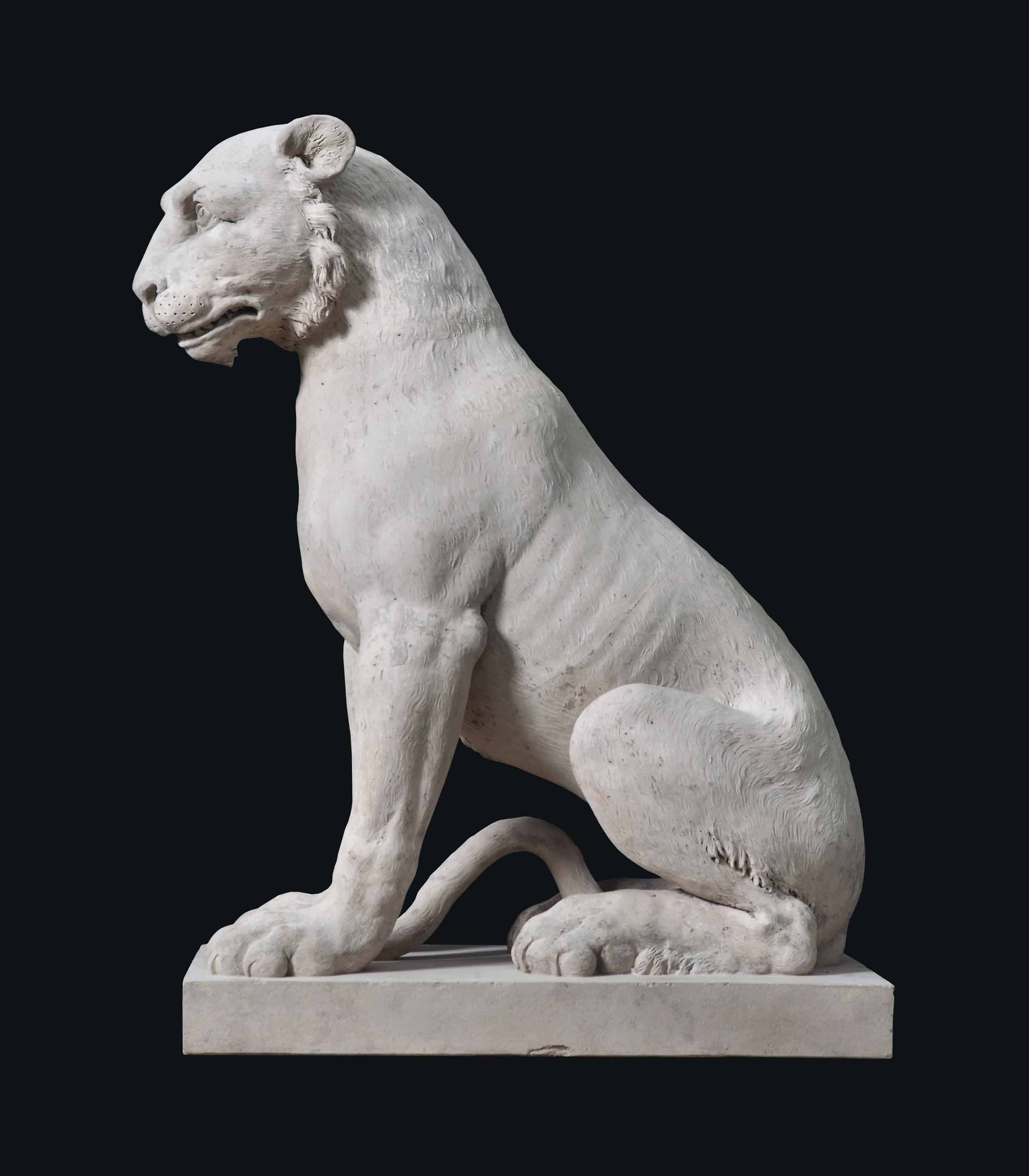 A GEORGE III ARTIFICIAL 'COADE' STONE MODEL OF A TIGER