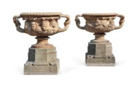 A PAIR OF VICTORIAN TERRACOTTA MODELS OF THE WARWICK AND ALBANI VASES
