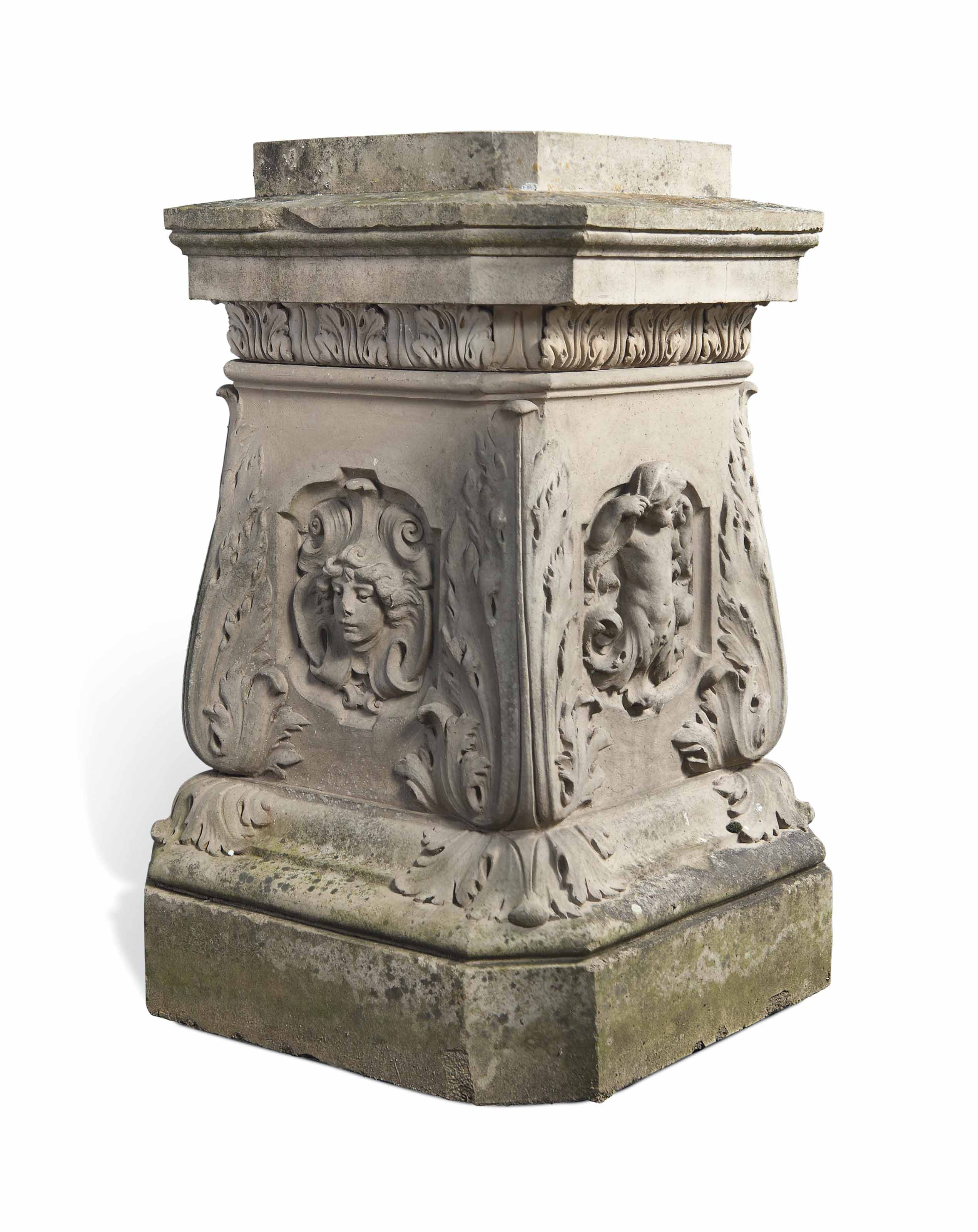 A LATE VICTORIAN OR EDWARDIAN TERRACOTTA PEDESTAL