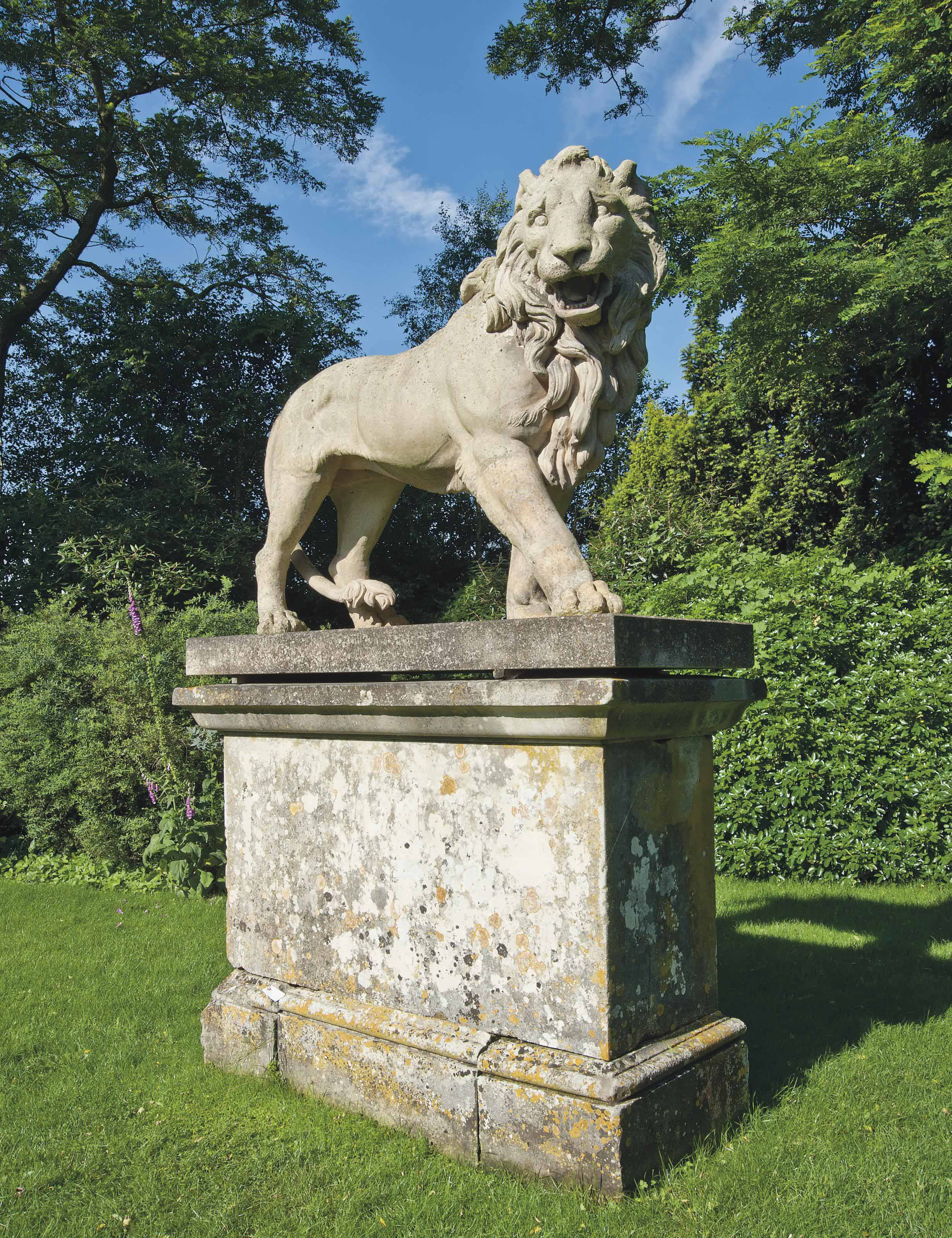 A GEORGE III ARTIFICIAL 'COADE' STONE MODEL OF A LION