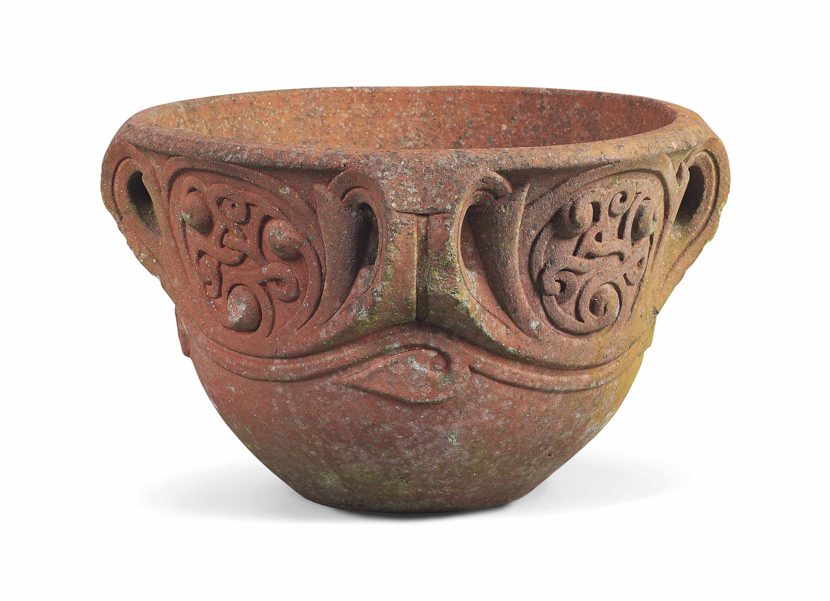 A TERRACOTTA COMPTON POTTERY 'CELTIC' POT