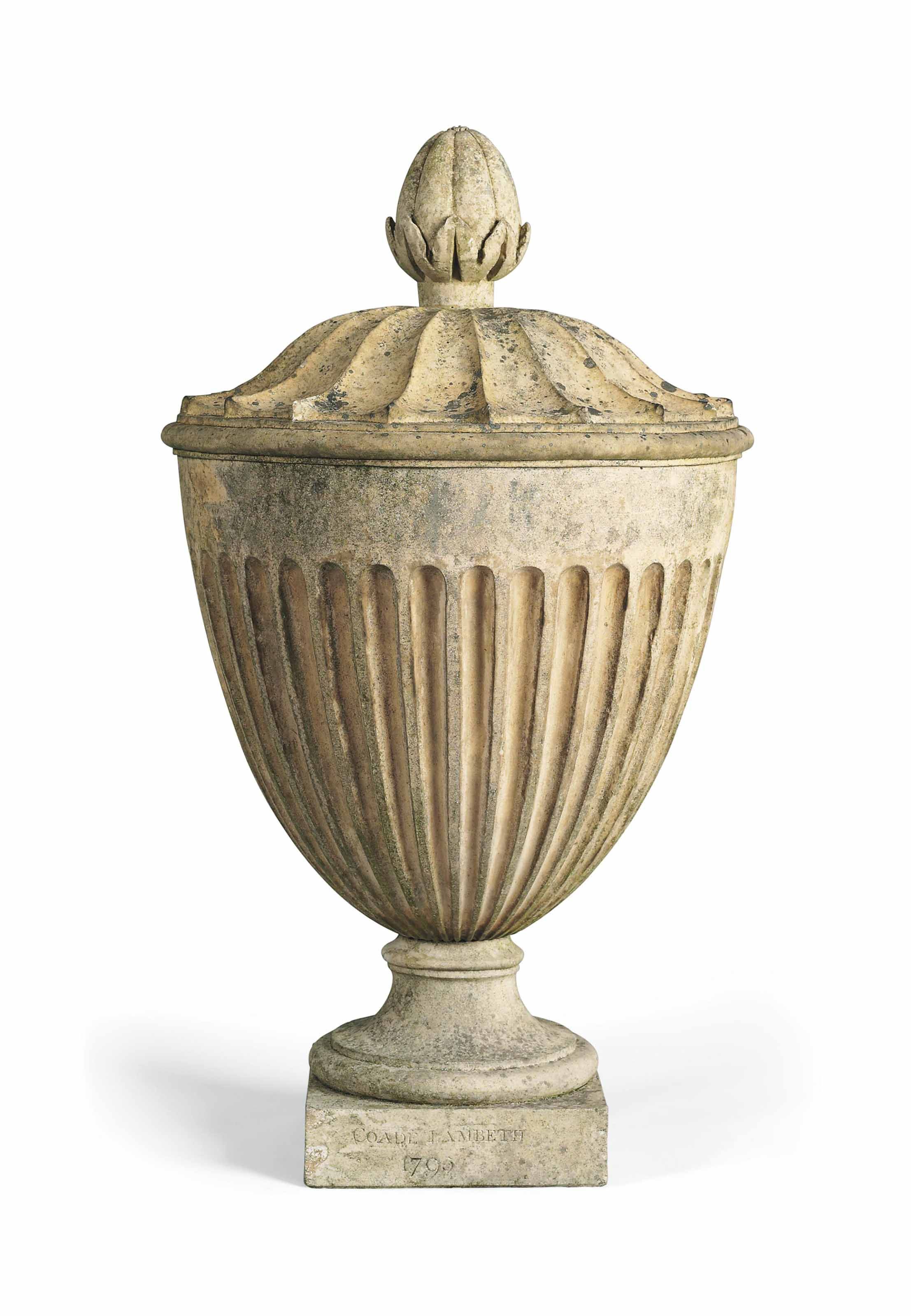 A GEORGE III ARTIFICIAL 'COADE' STONE URN FINIAL