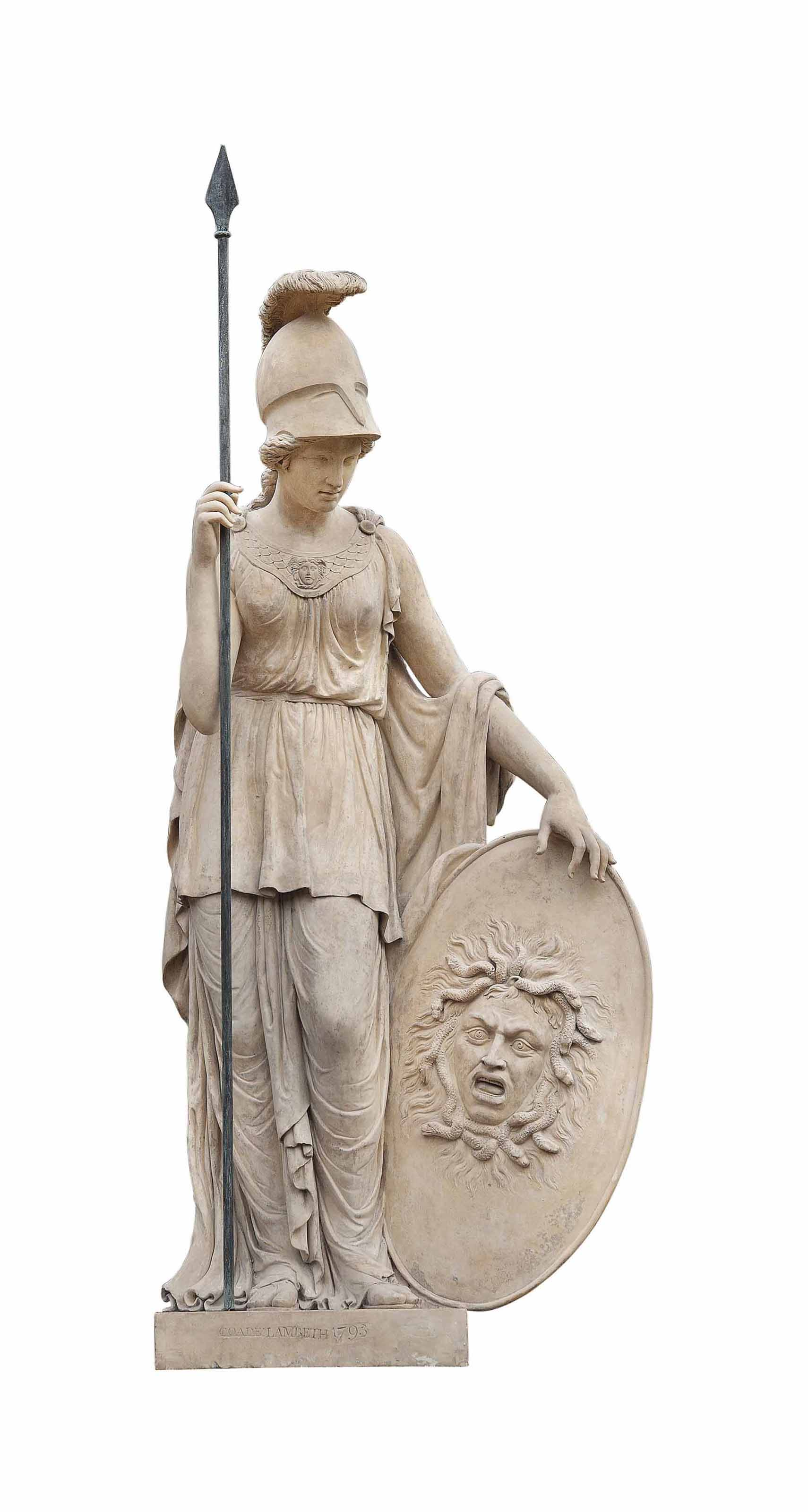 A GEORGE III ARTIFICIAL 'COADE' STONE MODEL OF MINERVA