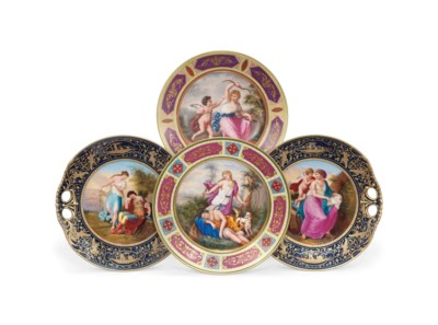 TWO VIENNA-STYLE CABINET PLATE