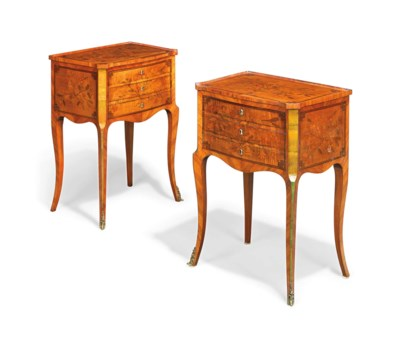 A PAIR OF FRENCH SATINWOOD, TU