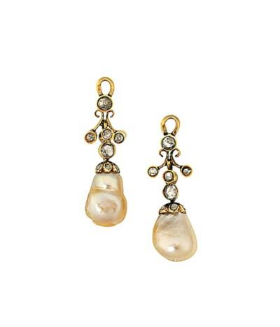A pair of natural pearl and di