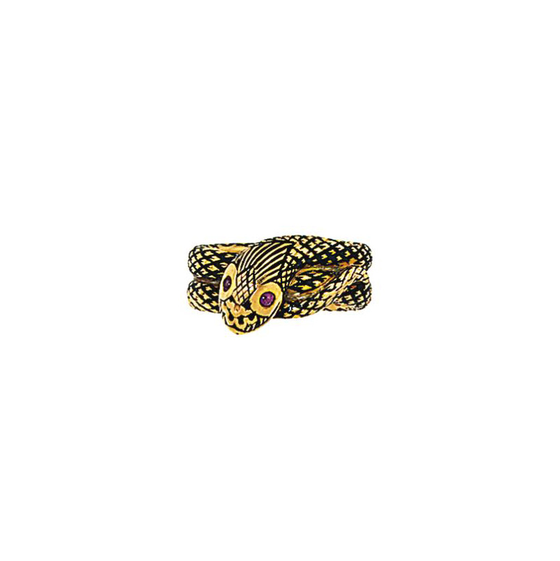 A 19th century 18ct. gold, ruby and enamel mourning ring for Nathan Meyer de Rothschild