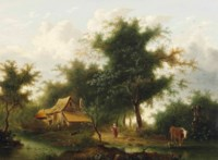 Cottage in a wooded landscape with figures and cattle