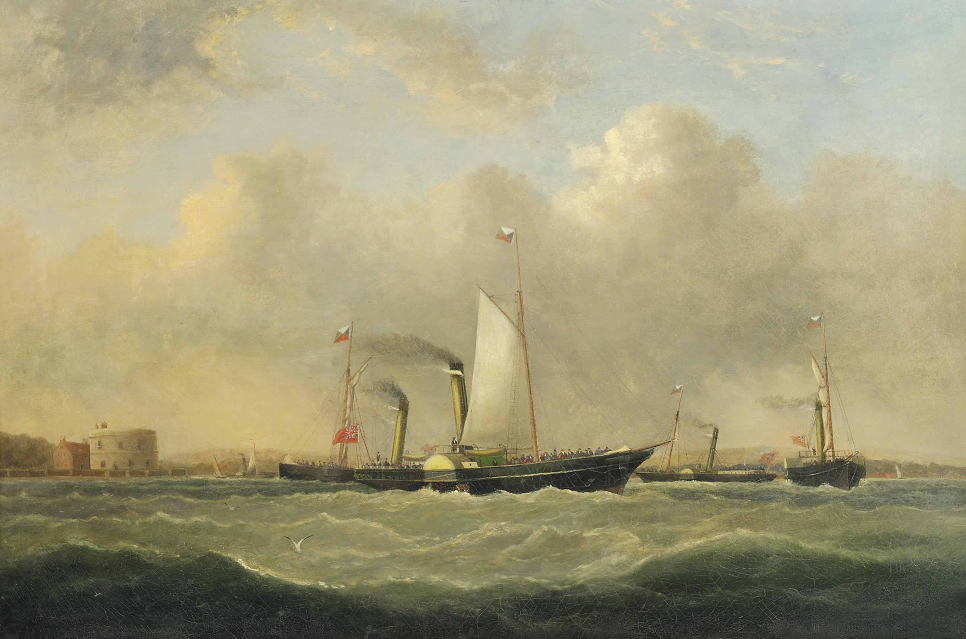 Southampton-Cowes ferries off Calshot Castle