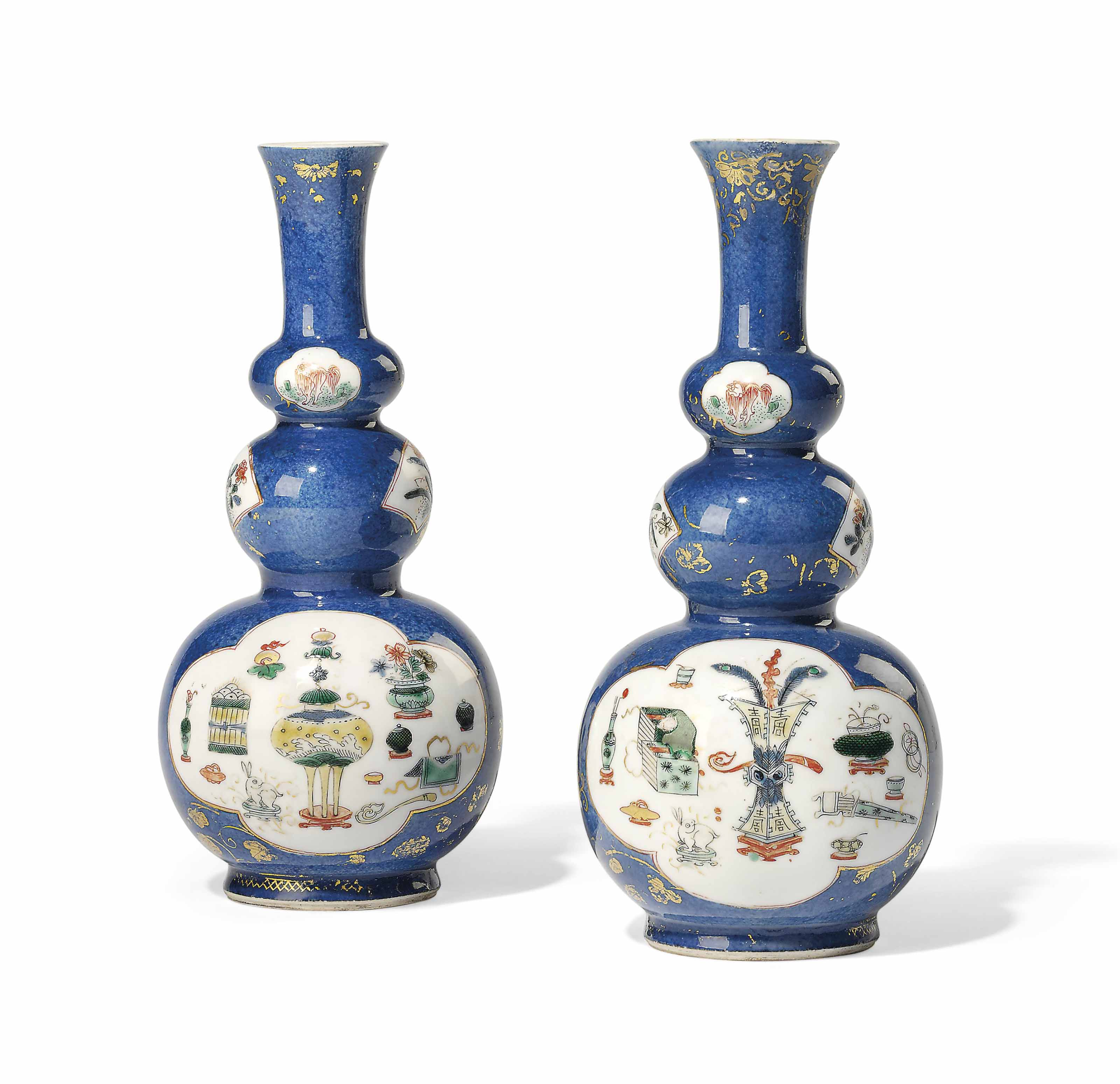 A PAIR OF CHINESE POWDER BLUE AND FAMILLE VERTE TRIPLE-GOURD VASES