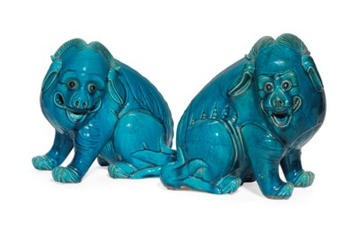 TWO CHINESE TURQUOISE-GLAZED M