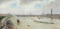 A busy day on the Thames, before Waterloo bridge