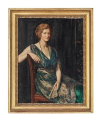 Portrait of a lady, thought to be Mrs Geoffrey Pynam of Guildford, seated, in a green dress