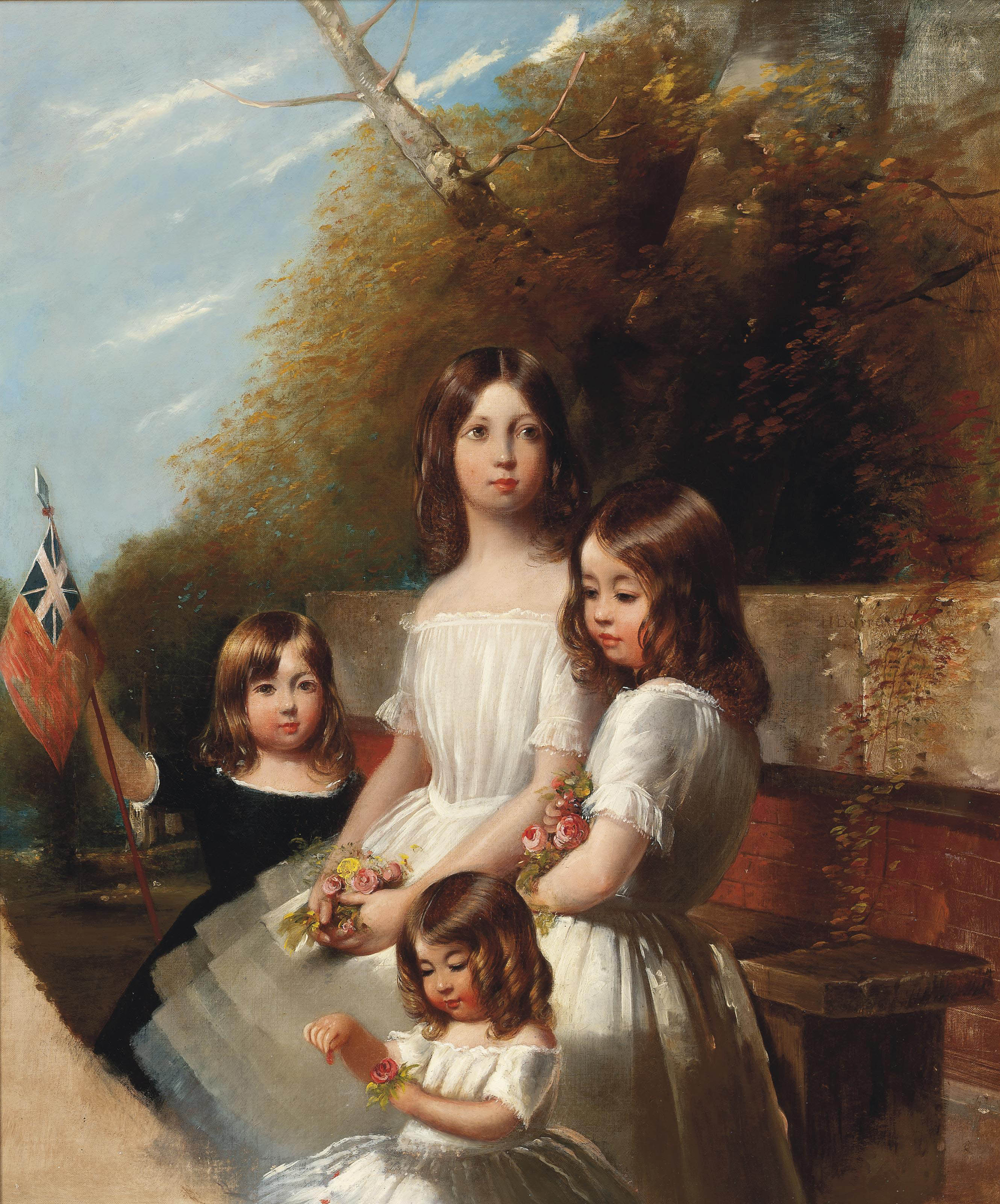 Group portrait of four children in a landscape, holding flowers and a flag