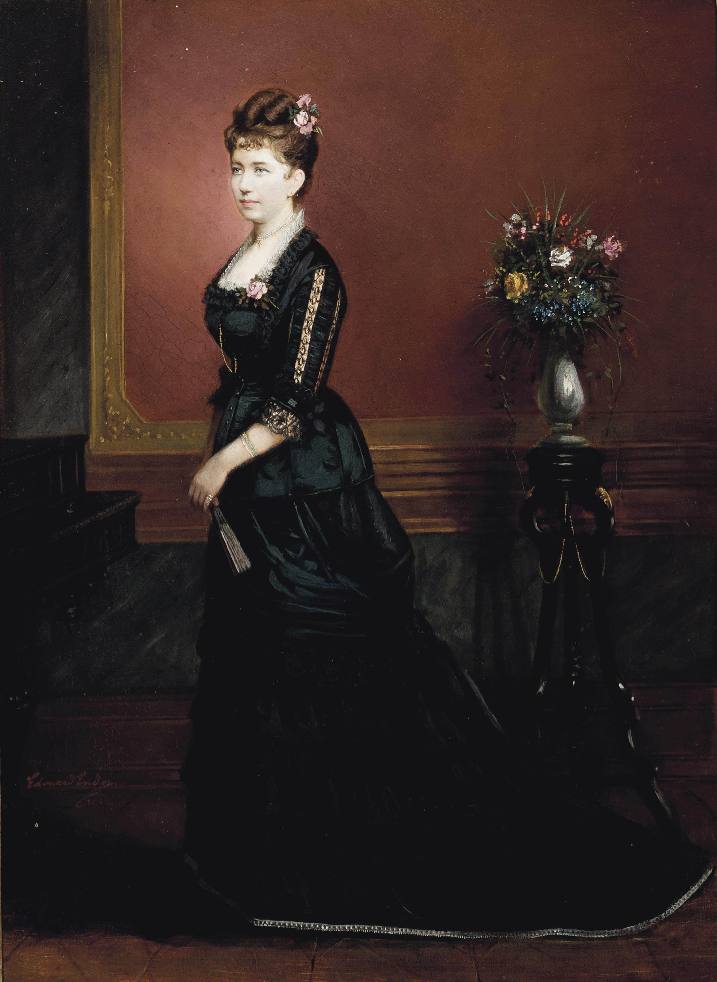 Portrait of lady, full-length, in a black dress, standing in an interior