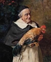 A monk holding a cockerel