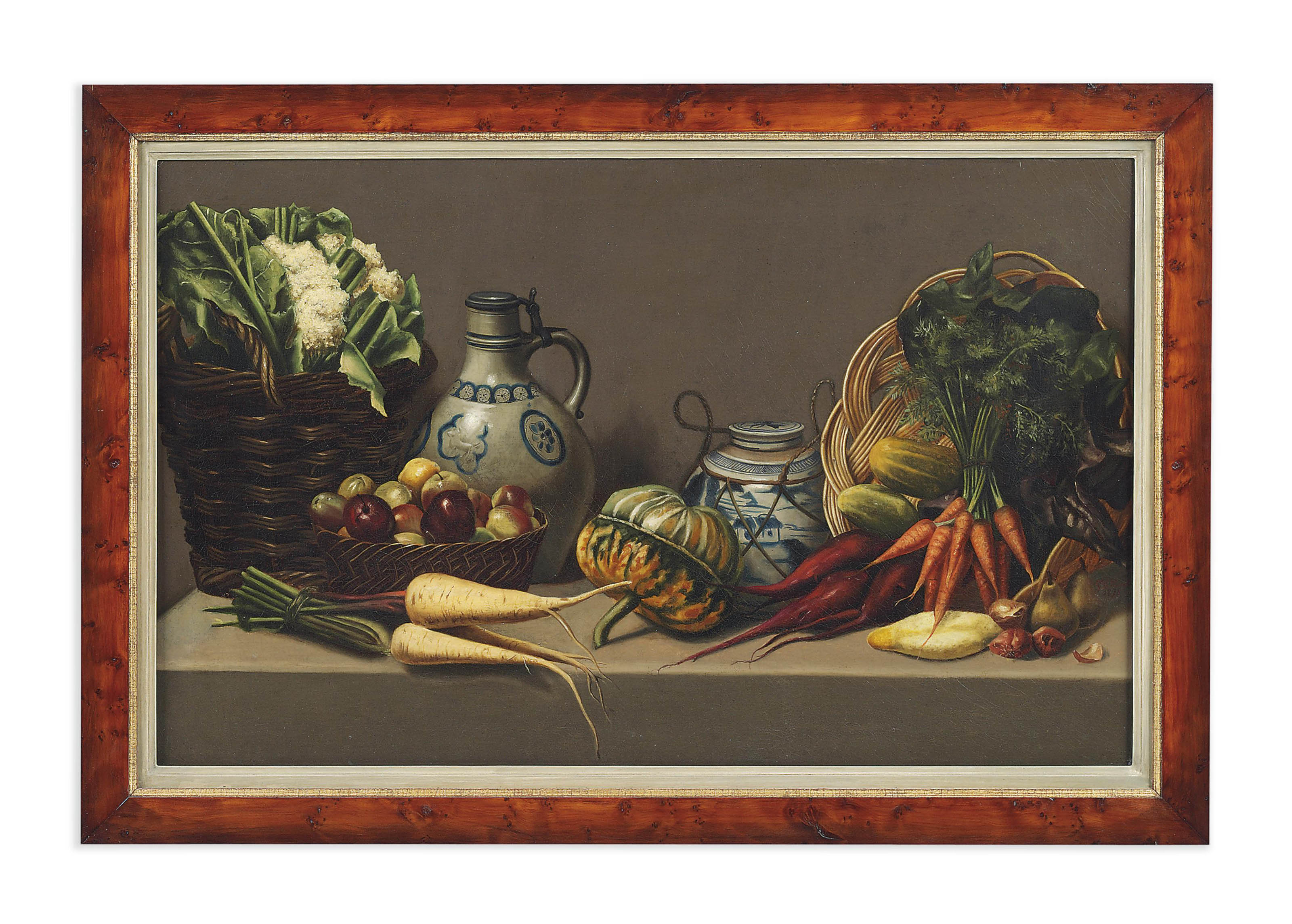 Vegetables and baskets on a ledge