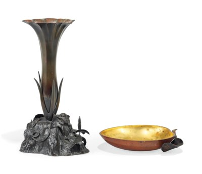 A JAPANESE BRONZE VASE AND A P