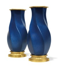 A PAIR OF FRENCH ORMOLU-MOUNTED CHINESE POWDER BLUE PORCELAIN SPIRAL-HEXAGONAL BALUSTER VASES