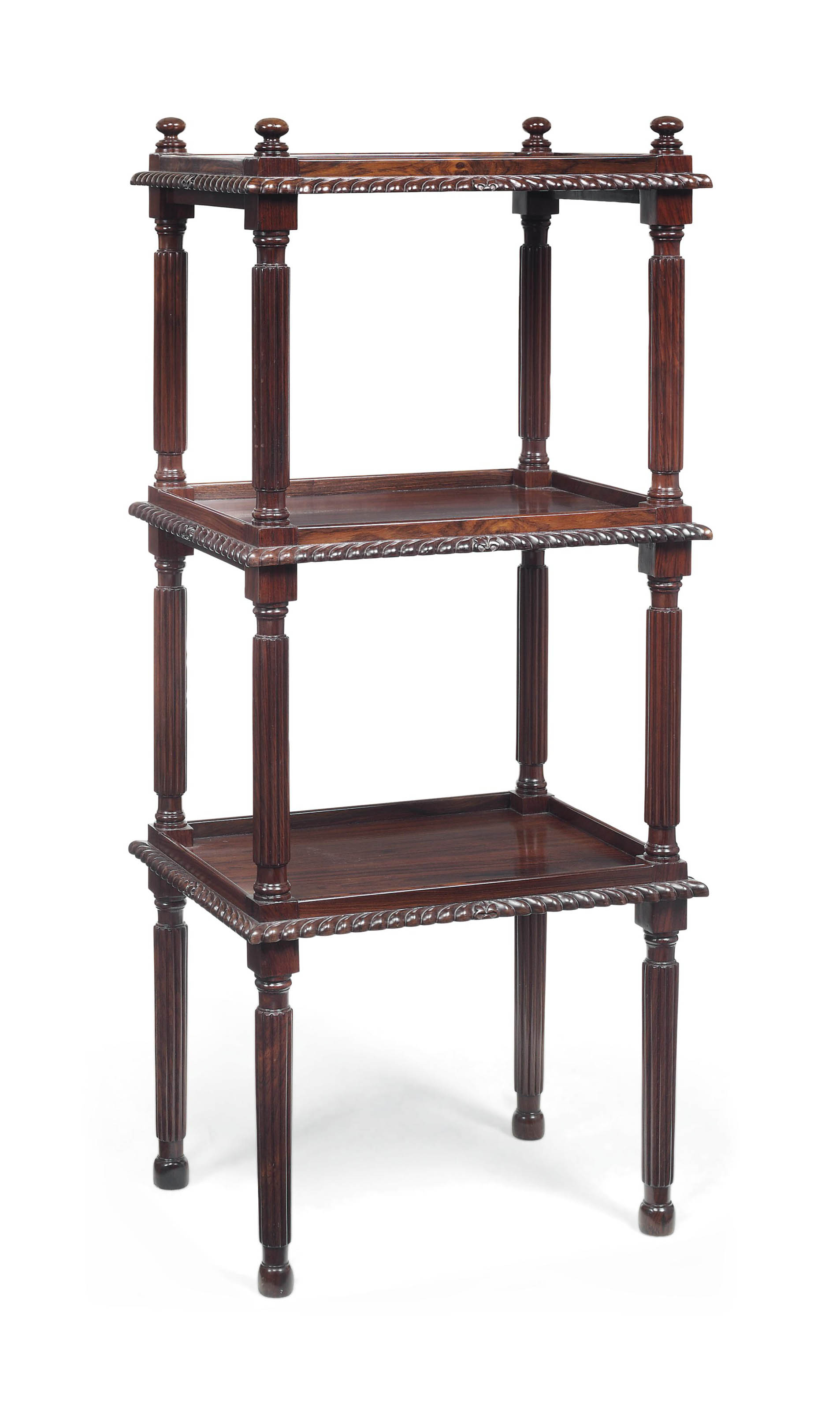 AN ANGLO-INDIAN ROSEWOOD THREE-TIER ETAGERE