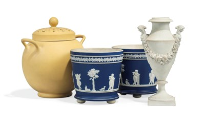 A WEDGWOOD CANEWARE TWO-HANDLE