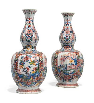 A PAIR OF DUTCH DELFT POLYCHRO