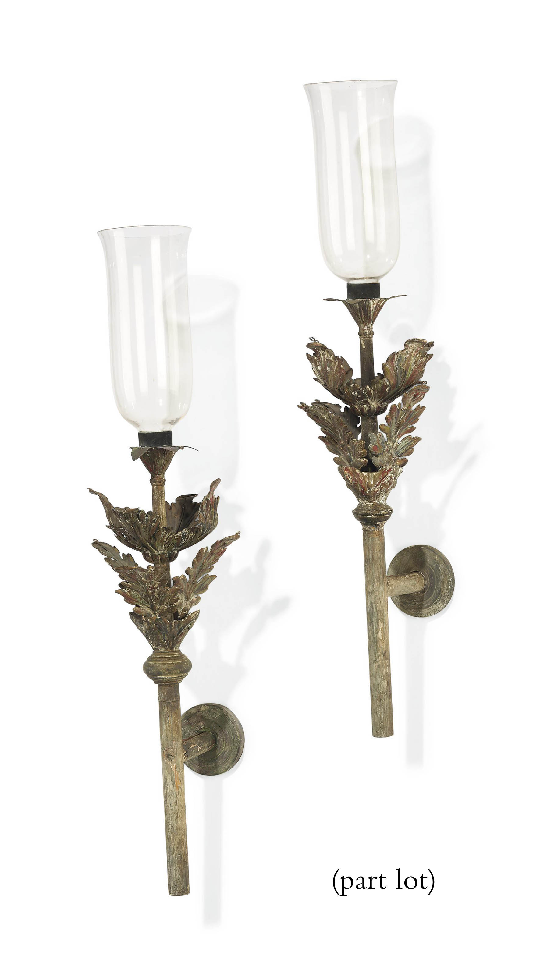A PAIR OF ITALIAN TOLE WALL-LIGHTS