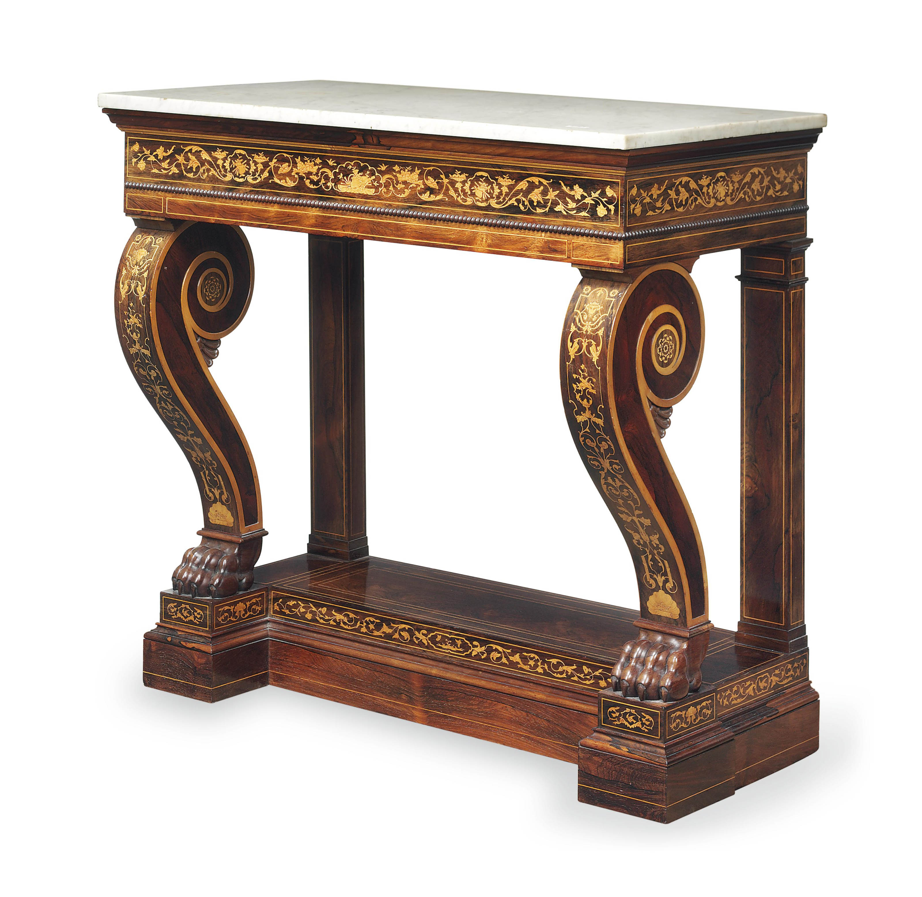 A CHARLES X ROSEWOOD, BOXWOOD AND MARQUETRY CONSOLE TABLE