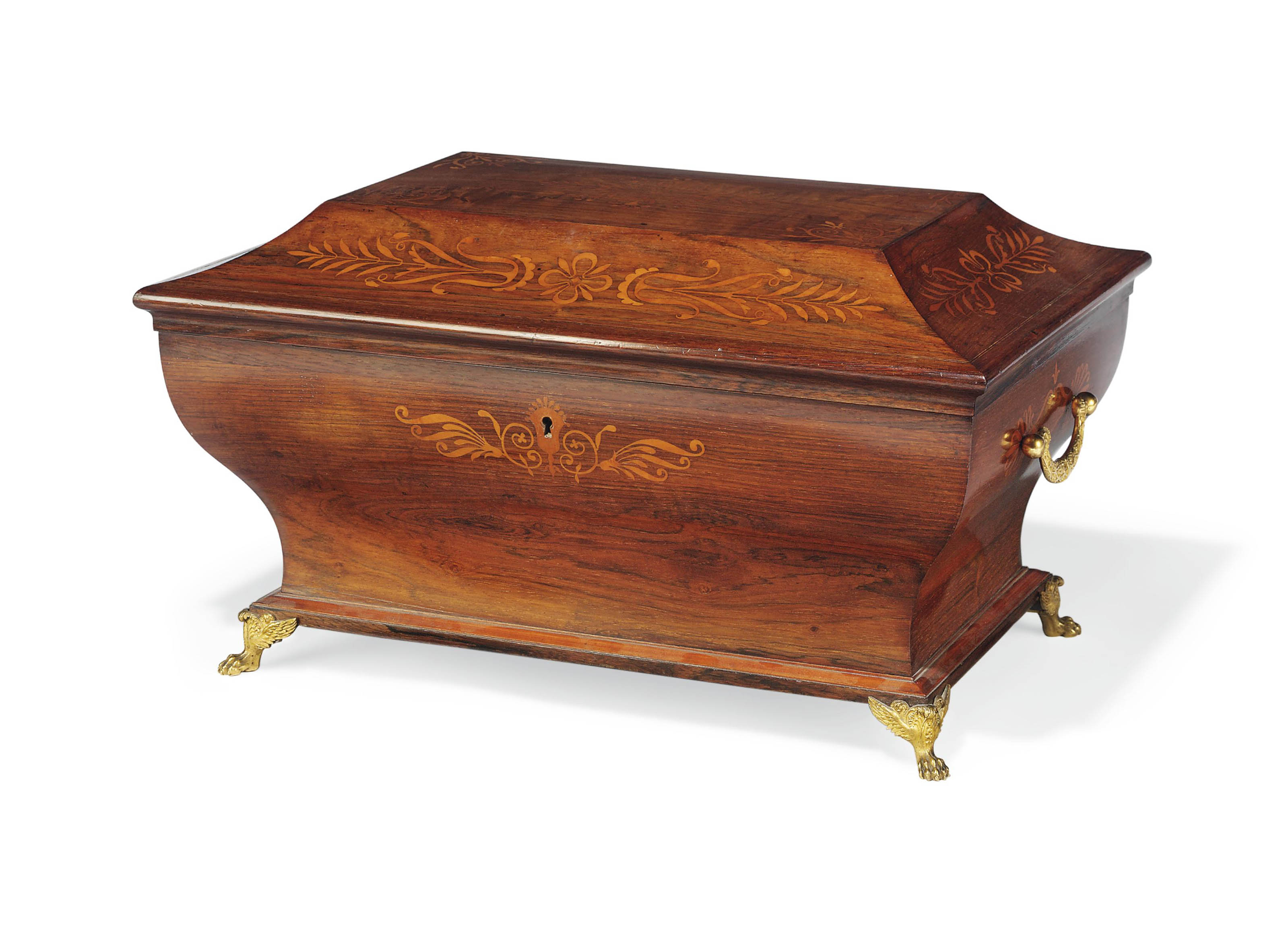A CHARLES X ROSEWOOD AND MARQUETRY SEWING-BOX