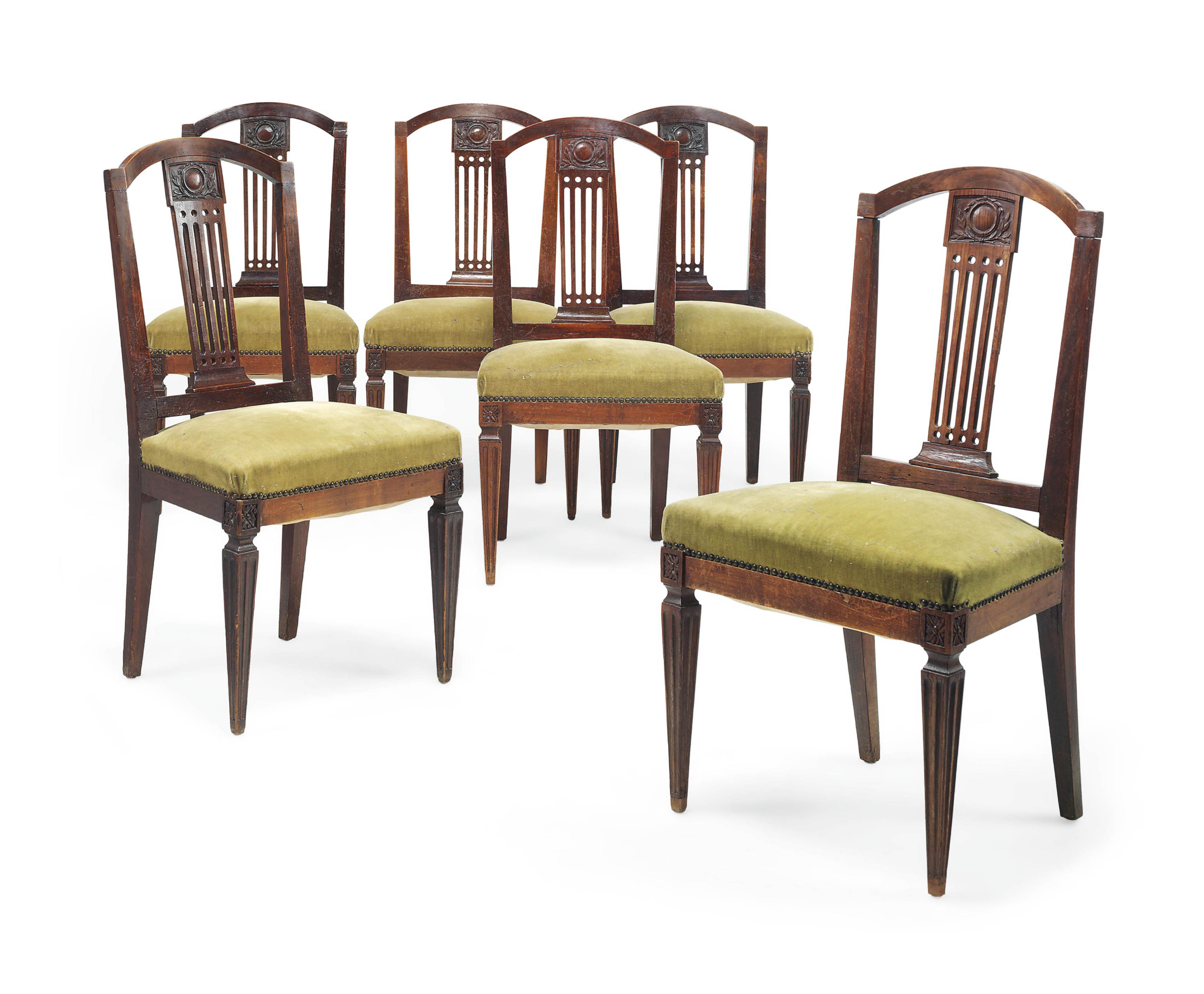 A SET OF SIX FRENCH PROVINCIAL FRUITWOOD DINING CHAIRS
