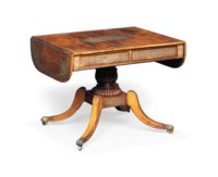 A REGENCY EBONY AND PEWTER-INLAID ROSEWOOD SOFA TABLE
