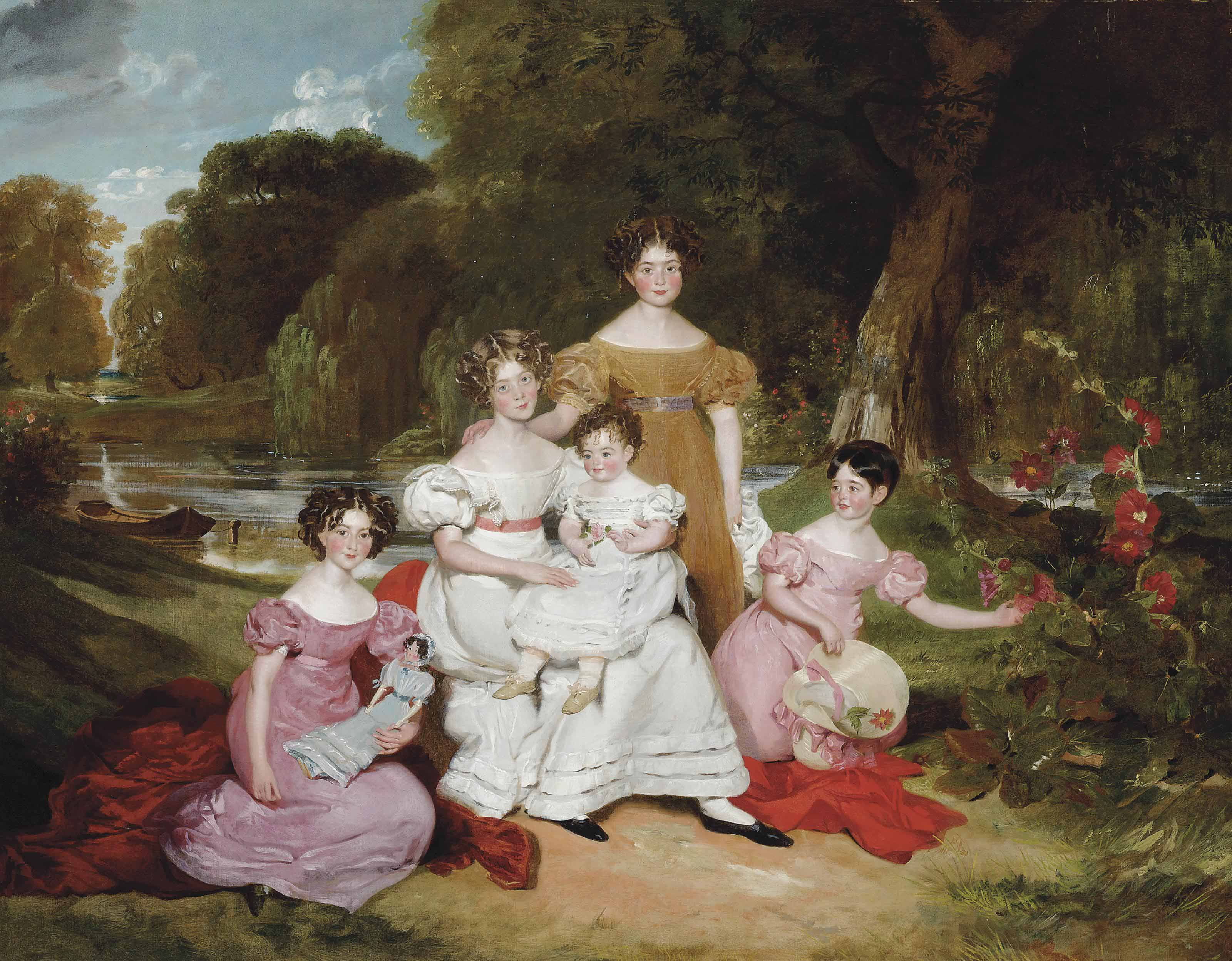 Group portrait of the Ward Hunt family in a landscape before a river