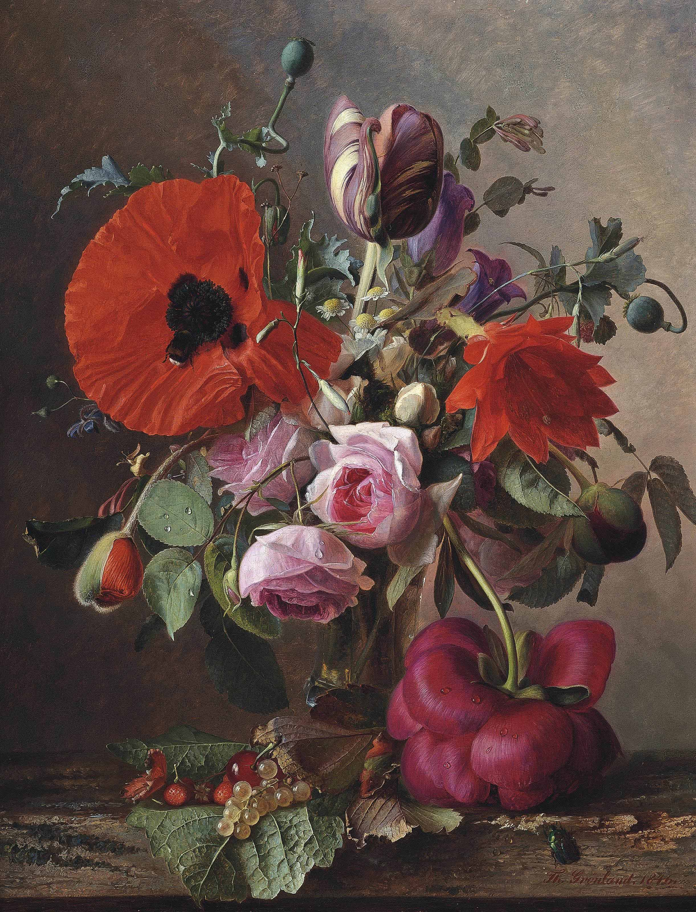 Poppies, tulips and roses in a vase by strawberries and grapes on a wooden shelf