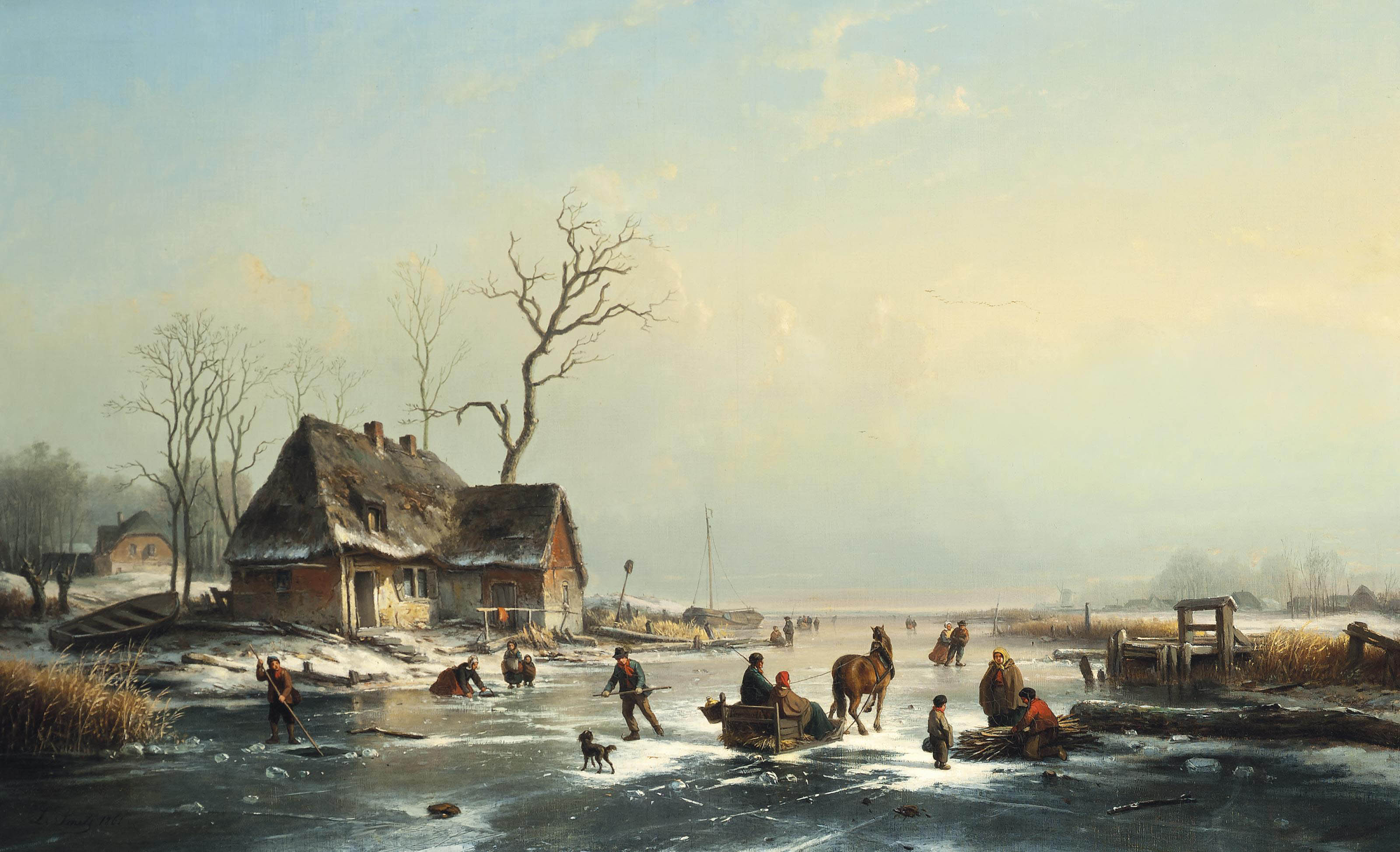 Skaters on a Dutch waterway by a riverside town