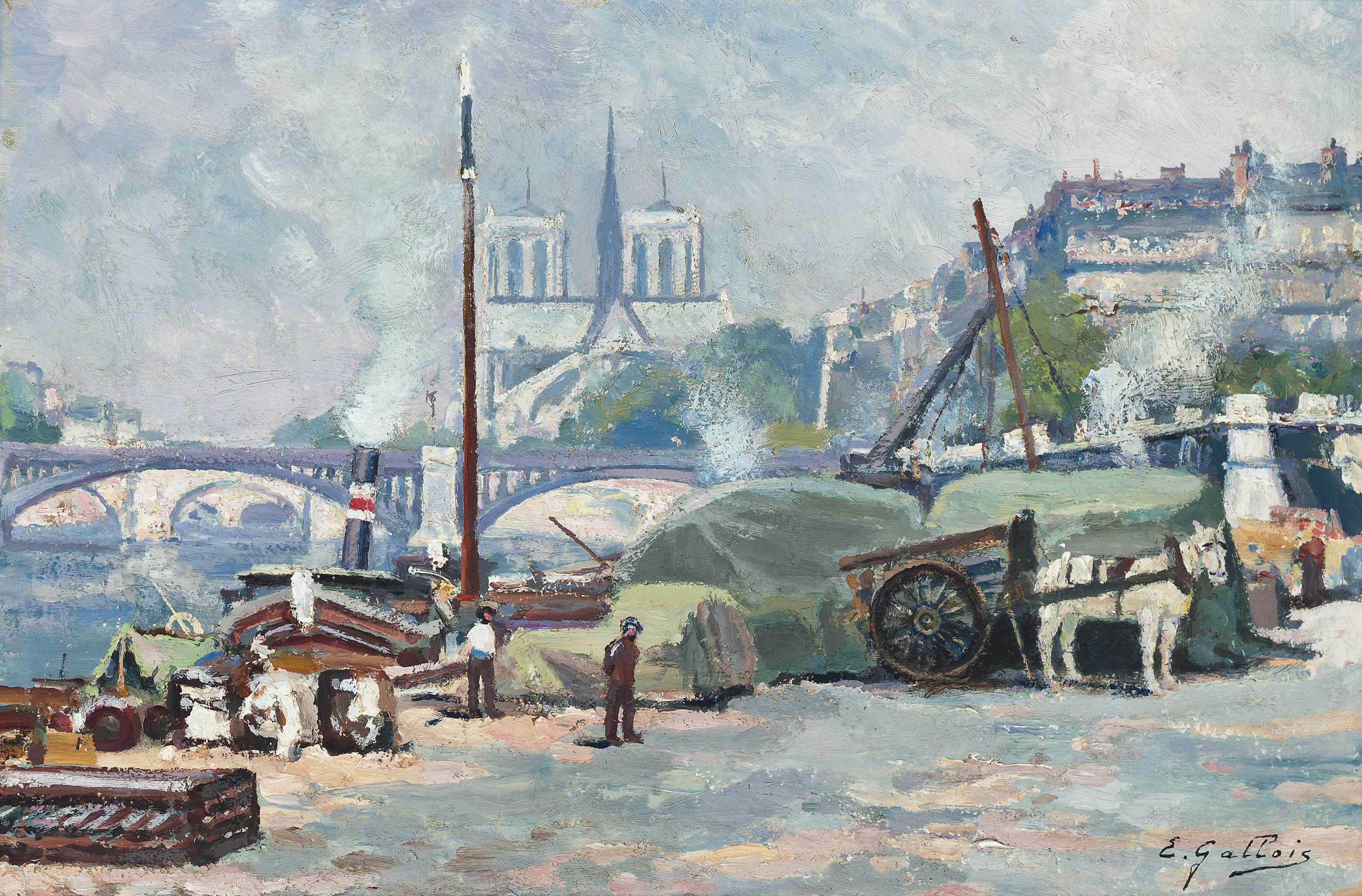 Loading steamers on the Seine, Notre Dame beyond