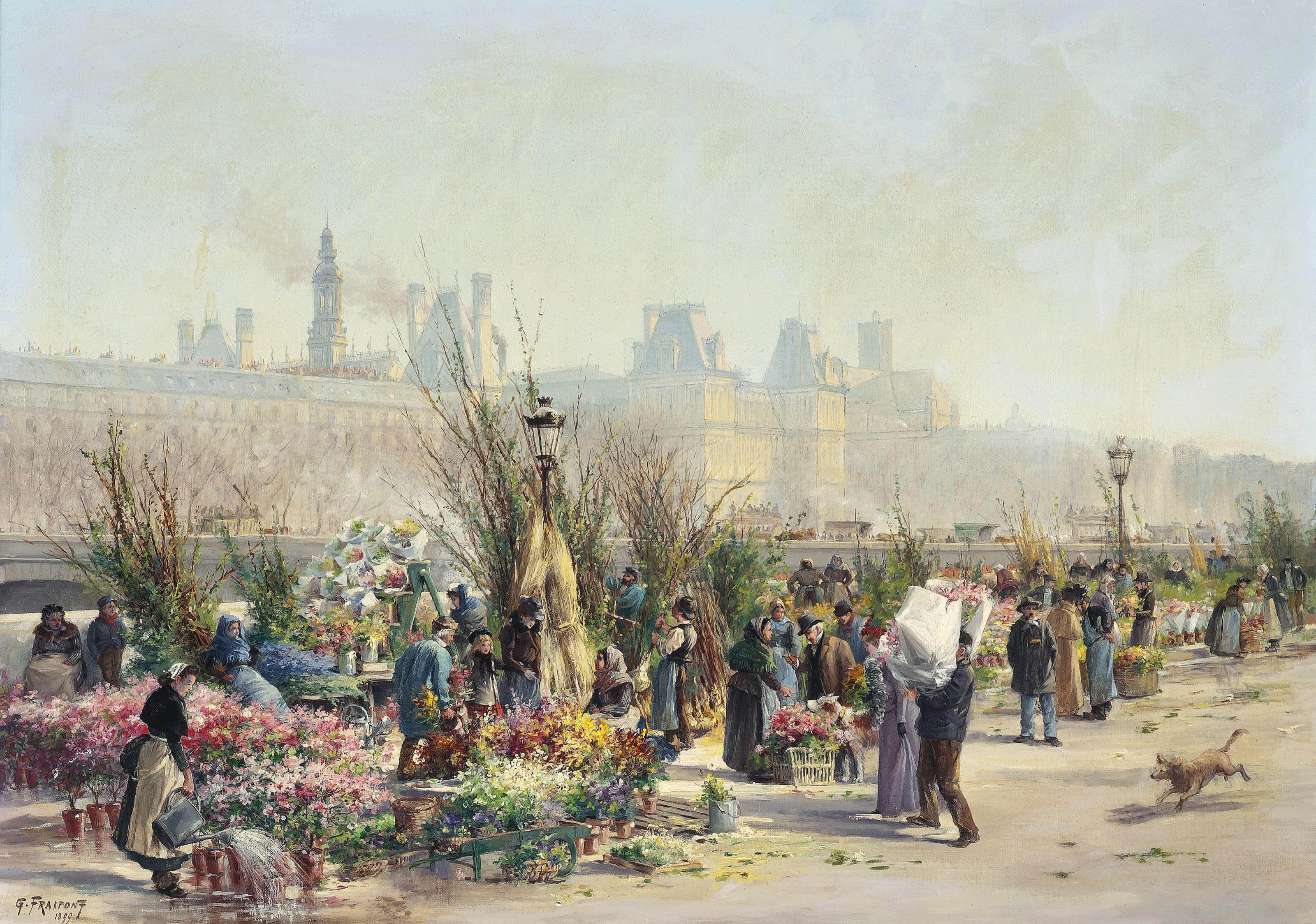 A flower market on the Seine, the Louvre beyond
