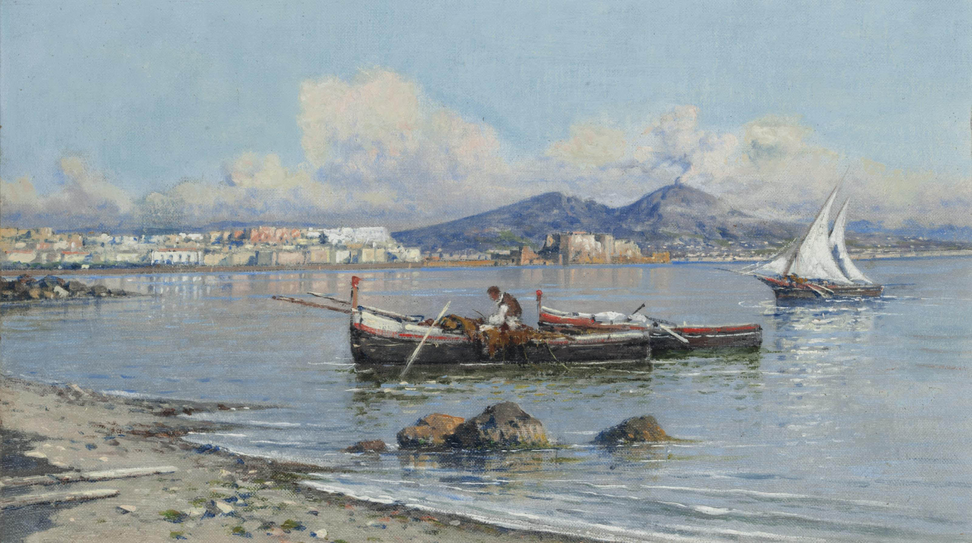 A fisherman tending to his nets on the Bay of Naples, Vesuvius beyond