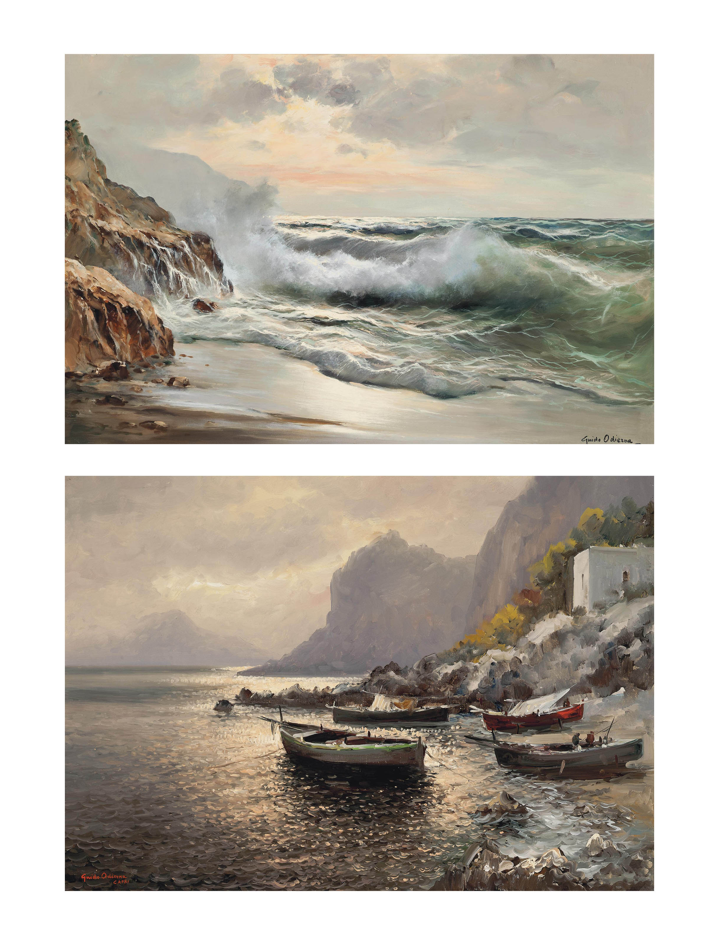 Breaking waves on the shore; and Fishing boats moored near the Capri shore