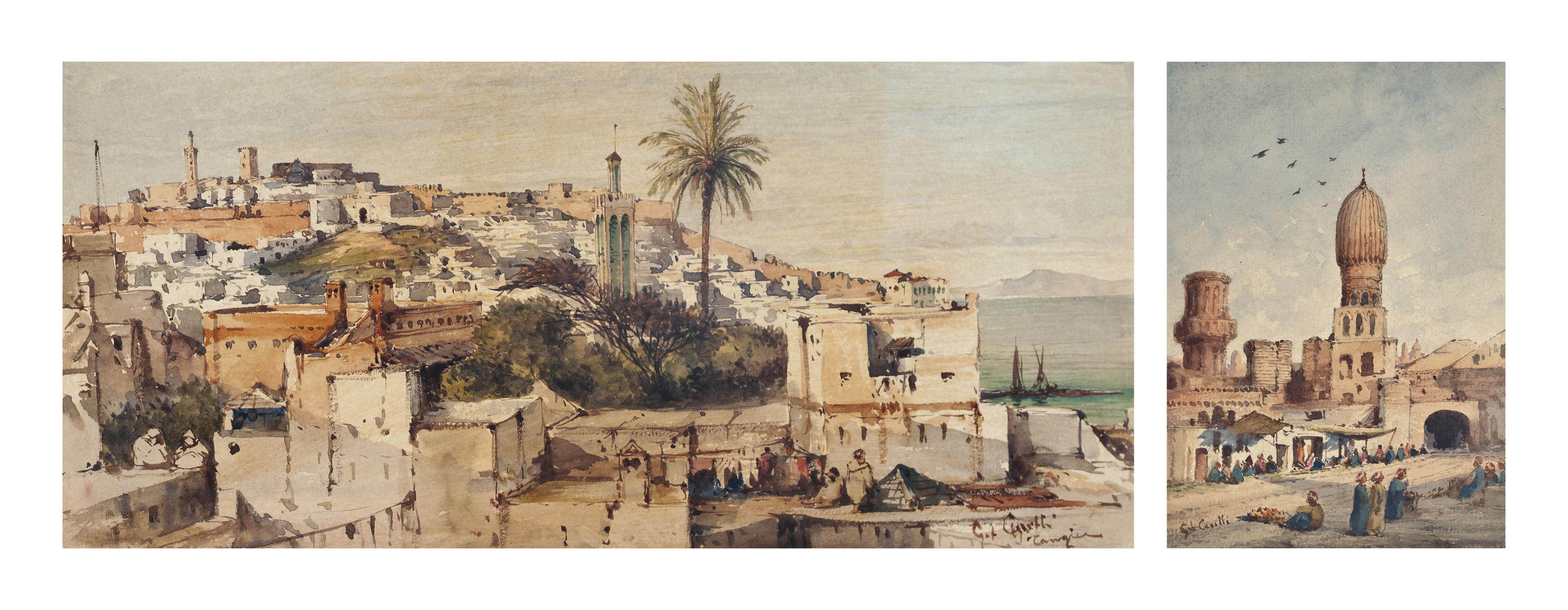 Arabs on the rooftops of Tangier, the Strait of Gibraltar beyond; and Arabs selling goods at the walls of Tangier