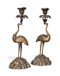 A PAIR OF WILLIAM IV GILT AND PATINATED BRONZE CANDLESTICKS