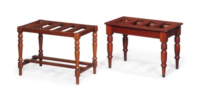 TWO MAHOGANY LUGGAGE STANDS