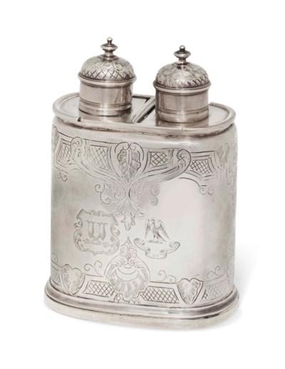 A GEORGE II SILVER TEA CADDY W