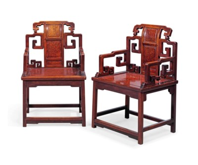 A PAIR OF CHINESE HONGMU AND A